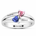 Double heart couple ring