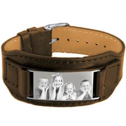 bracelet de cuir brun