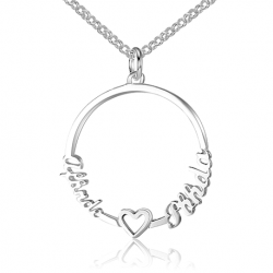 Heart duo name necklace
