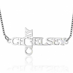 Cross double name necklace