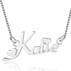 Heart stylish name necklace