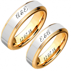 Two tone couple ring set