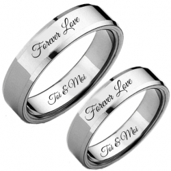 Ensemble bague couple confort-fit