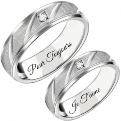 Lux  silver couple ring set