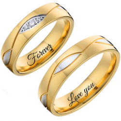 Two tones couple ring set