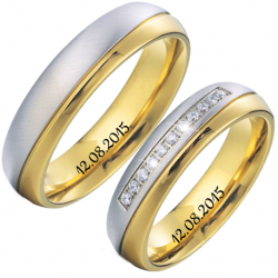 Lux  two tones silver couple ring set