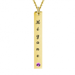 Drop bar name necklace yellow gold