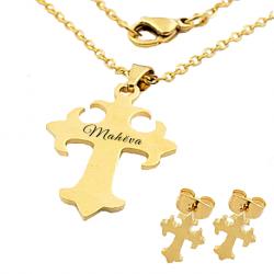 Ensemble délicate croix stylée or