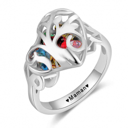 Family cage heart ring