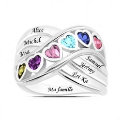 Bague famille coeurs OR