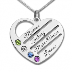 Pendentif amour famille coeur argent sterling