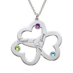 Three family hearts pendant