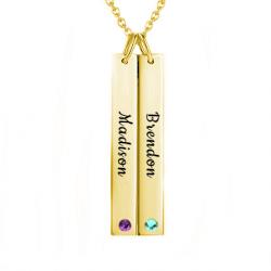 Drop bar name necklace yellow gold
