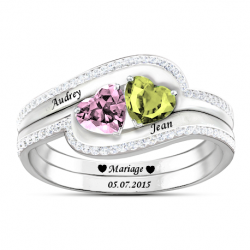 Bague couple coeur double OR