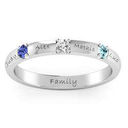 anneau triple pierres précieuses