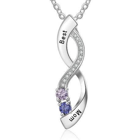 Infinity birthstone pendant