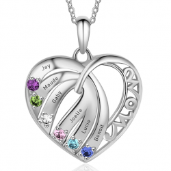 Family MOM heart pendant