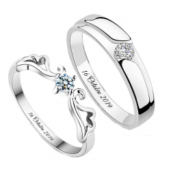 Classic couple ring set sterling silver