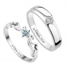 Angel sterling silver couple ring set