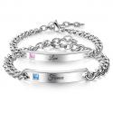 Black stainless steel bracelet with zirconia