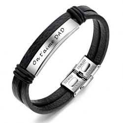 Bracelet stainless et cuir OG