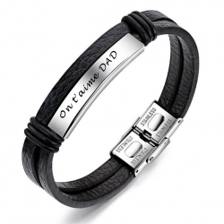 Leather stainless steel bracelet
