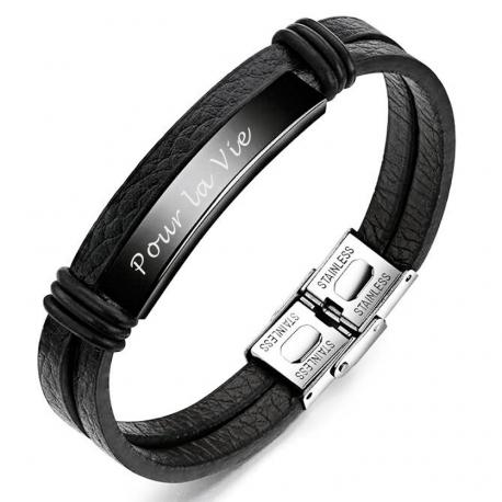 bracelet cuir et acier inoxydable
