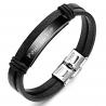 Bracelet stainless noir et cuir OG