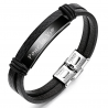 Leather black  stainless steel bracelet