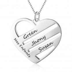 Pendentif coeur triple noms