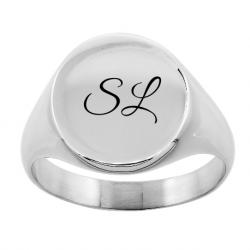 Classic round signet ring unisex