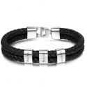Bracelet cuir carré argent-3