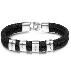 Bracelet cuir carré argent-4