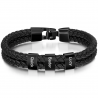 Square leather bracelet black-3