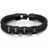 Bracelet cuir carré noir-4