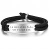 Bracelet cordage plaque argent