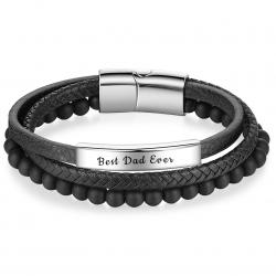 Bracelet cuir plaque et billes