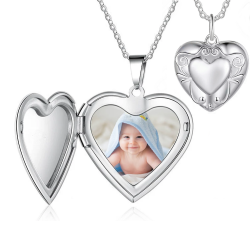 Porte-photo coeur ornemental argent sterling