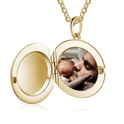 Pendentif porte-photo rond or jaune