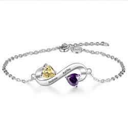 Bracelet infinity duo hearts sterling silver
