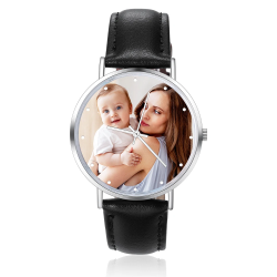 Women's black leather watch photo color