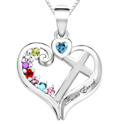 Family cross-heart pendant