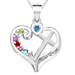 Pendentif famille coeur croix