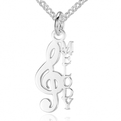 Music key name necklace