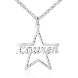 Collier prénom étoile style cursif